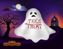 Krwionośnej plamy literowanie na białym duchu z kasztelem, drzewem, księżyc w pełni i Halloween baniami w tle dla sztandaru, ilus Zdjęcia Royalty Free