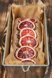 Krwionośnej pomarańcze literujący tort Zdjęcia Stock