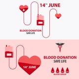 Krwionośnej darowizny sztandar Medyczna ilustracyjna Wektorowa ilustracja Zdjęcia Royalty Free