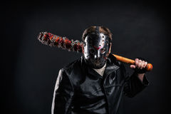 Krwista maniaczka w maskowym i czarnym rzemiennym żakiecie obrazy royalty free