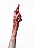 Krwista ręka z skalpelem na białym tle, odizolowywającym, żywy trup, demon, maniaczka, odizolowywająca Obraz Royalty Free