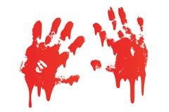 Krwisty druk ustawiający ręki odosobniony biały tło Horroru straszny krwionośny handprint, odcisk palca Czerwona palma, palce, pl royalty ilustracja