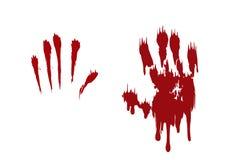 Krwisty druk ustawiaj?cy r?ki odosobniony bia?y t?o Horroru straszny krwiono?ny handprint, odcisk palca Czerwona palma, palce, pl royalty ilustracja