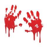 Krwisty druk ustawiaj?cy r?ki odosobniony bia?y t?o Horroru straszny krwiono?ny handprint, odcisk palca Czerwona palma, palce, pl ilustracji