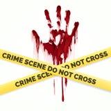 Krwisty handprint i polici miejsce przestępstwa ilustracji