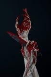 Krwisty ręka żywego trupu demonu nóż Zdjęcie Royalty Free