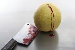 krwisty zabity nożowy melonowy kolor żółty obrazy royalty free