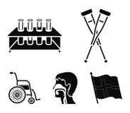 Krycka tripod med provrör, rullstol, mänskligt respiratoriskt system Fastställda samlingssymboler för medicin i svart stil stock illustrationer