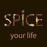 Krydda ditt liv humoristiskt citationstecken Text som göras av kryddor Svart bakgrund royaltyfri illustrationer