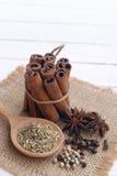 krydda fem på träbakgrund Royaltyfri Foto