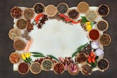 Krydda och Herb Abstract Border Fotografering för Bildbyråer