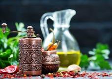 Krydda och olja royaltyfria bilder