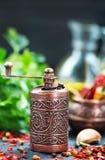 Krydda och olja arkivbild