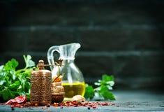 Krydda och olja royaltyfri foto