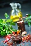 Krydda och olja arkivfoton