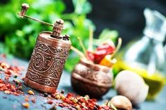 Krydda och olja fotografering för bildbyråer