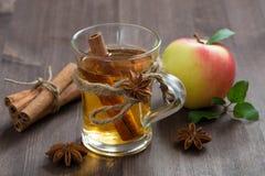 Kryddad äppelcider och kryddor på en trätabell royaltyfri foto