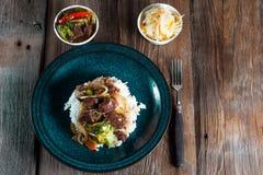 Kryddanötkött med ris Royaltyfri Foto