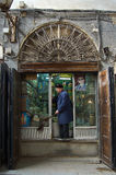 Kryddan shoppar i basarerna av Damascus, Syrien Arkivbild