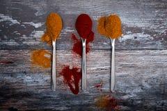 Kryddapulver på skedar på trätabellen - curry och peppar royaltyfri bild