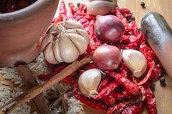 Kryddar ingredienser för att laga mat på tabellen Royaltyfri Fotografi