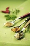 kryddar spoonfuls tre arkivbilder