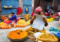 Kryddasäljare Katmandu Nepal royaltyfria foton