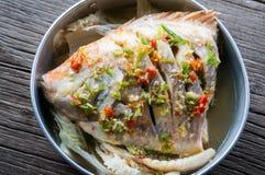Kryddig ångad fisk Arkivfoto