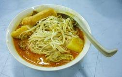 Kryddig asiatisk soppa för curryLaksa nudel royaltyfria foton