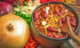 Kryddig bunke av chili royaltyfri bild