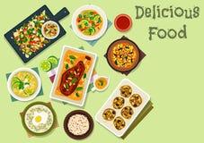 Kryddig disk för indisk kokkonst för lunchsymbol royaltyfri illustrationer