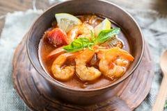 Kryddig fransk soppa med skaldjur Royaltyfri Fotografi