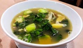 Kryddig grönsak- och räkasoppa Arkivbild