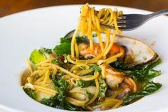 kryddig havs- spagetti Royaltyfria Foton