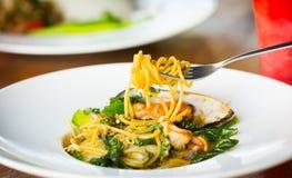 kryddig havs- spagetti Royaltyfria Bilder