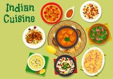 Kryddig matställesymbol för indisk kokkonst för menydesign vektor illustrationer