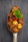Kryddig mexicansk maträttchili con carne i en sked, begreppsmässigt foto Arkivfoton