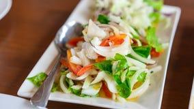 Kryddig salladmaträtt för läcker tioarmad bläckfisk royaltyfria bilder