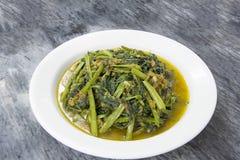 Kryddig småfisk för Kangkong grönsakuppståndelse Arkivbilder