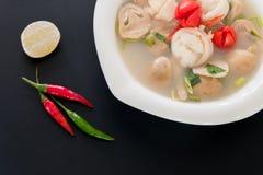 Kryddig soppa för thailändsk stil, Tom Yum Fotografering för Bildbyråer