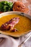Kryddig soppa med grisköttstöd arkivfoto