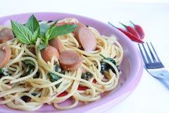 kryddig spagetti royaltyfri fotografi