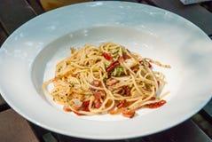 Kryddig spagettibacon Royaltyfri Foto