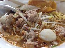 Kryddig thai äggnudel med griskött och fishball Royaltyfri Bild
