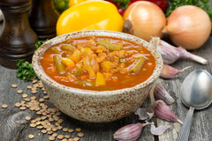 Kryddig tomatsoppa med linser och grönsaker Arkivfoton