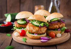 Kryddiga fega hamburgare med tomaten och aubergine - smörgås Arkivfoto