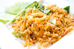 Kryddiga stekte ris Arkivfoto