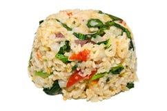 Kryddiga stekte ris med kinesisk broccoli och griskött Arkivbild