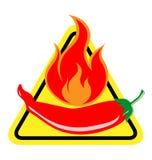 Kryddigt Chili Pepper varningstecken Arkivbild