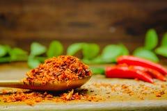 Kryddigt för peppar för röd chili varmt på ett trä Chili som torkas på träskeden Royaltyfria Bilder